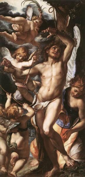 St Sebastian Tended By Angels